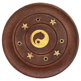 Porte encens bâtons bois et laiton motif ying yang