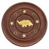Porte encens batons et cônes bois et laiton motif éléphant
