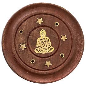 Porte encens batons et cônes bois et laiton motif bouddha