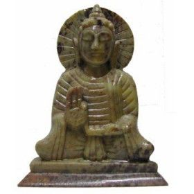 Statue bouddha assis en pierre.