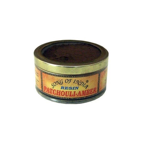Boite resine encens poudre de patchouli-Ambre.